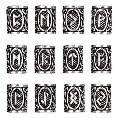 12 Piezas Perlas de Rastas Perlas Perlas Vikingas Cuentas de Pelo Y Barba NóRdicas Kit de Cuentas de Plata Antigua Para Pulsera Collar Trenzas JoyeríA de Plata Accesorios Para El Cabello
