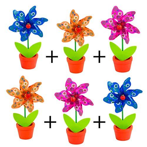 CIM Moulin à Vent - Moulin Set 6 Flower - résiste aux UV et aux intempéries - Moulin : Ø9cm, Hauteur Totale : 16cm - Livré monté, INCL. Pôt de Fleurs