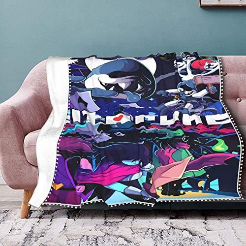 Deltarune - Manta de franela con pompón, con flecos, de felpa ligera, manta de franela para sala de estar, 152 x 127 cm
