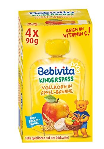 Bebivita Kinder-Spaß Frucht und Getreide, Vollkorn in Apfel-Banane, 4er Pack ( 4 x 4 x 90 g )