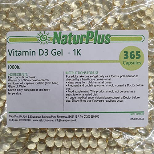 Vitamin D3 1000 IU 365 Capsules by NaturPlus
