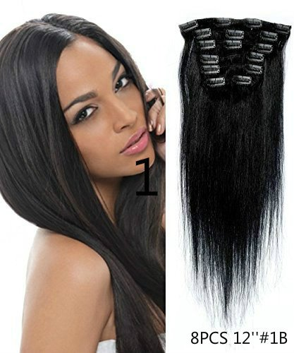 Uotp HairStraight Remy Human Hair Clip in Hair Extension 12 Inches, 8pcs/set, Color #1B Off Black