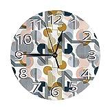 DZCP-y Reloj de Pared Retro Bauhaus, Reloj de Pared silencioso de Cuarzo de Calidad sin tictac