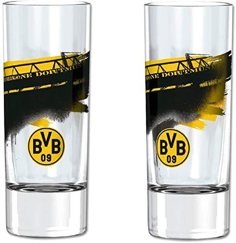 Borussia Dortmund Schnapsglas / Glas / Shot Glass 2er Set BVB 09 - plus gratis Aufkleber forever Dortmund