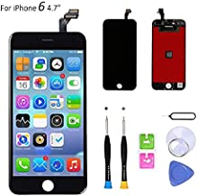 Compatible with iPhone 6 Screen Replacement (4.7 inch Black), LCD Digitizer Touch Screen Assembly Set with Touch Function, Repair Tools and Professional Replacement Manual Included (Black)