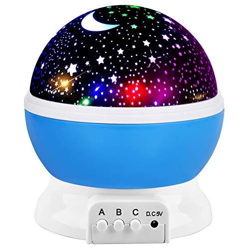 Lampada di Illuminazione Notturna,Lampada Stelle Proiettore Bambini, Rotante 360 Grado Stella Luna Cielo Proiettore per Bambini,Camera da Letto (blu-1)