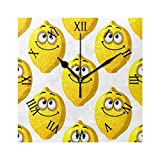 AHOMY Decorative Art Wall Clock Cartoon Yellow Lemons Smiling with Googly Eyes Square Numeral Clock Silent Non Ticking for Home Office School