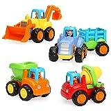 TINOTEEN Coche de Juguete para Bebé, Friccion Vehículos de Construcción de 1 2 3 Años Niños 4 Juegos de Camión,Tractor,Niveladora, Camión del Mezclador