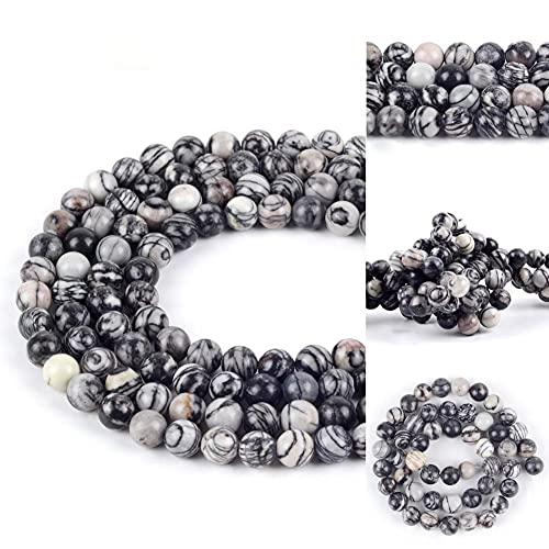 YELVQI Borla 4-12mm Natural Negro Web Jaspers Piedra Piedra Spacer Redondo Perlas Redondas para Joyería Que Hace Bricolaje Pulseras Collar Costura 15' (Color : 4mm 91Pcs Beads)