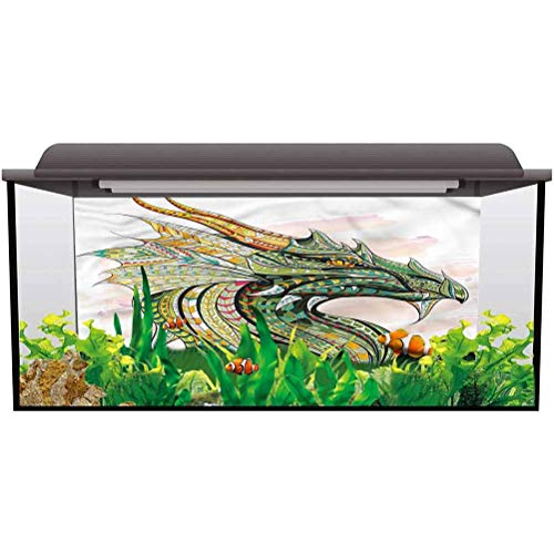 bybyhome Under Sea Fish Aquarium Celtic,Legend Grunge Celtic PVC Self-Adhesive Decor Wall L36 X H24 Inch