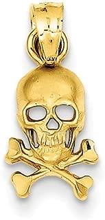 14k Yellow Gold Skull and Cross Bones Pendant