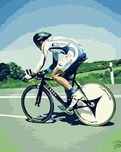 KUKUALE Malen nach Zahlen Rennradfahrer Figur DIY Malen nach Zahlen Wandkunst Bild Gemälde für die Inneneinrichtung 40X50Cm (16x20in)