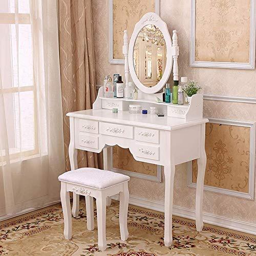 LYJBD - Barstools De Maquillaje de Mueble de baño con Taburete Espejo...