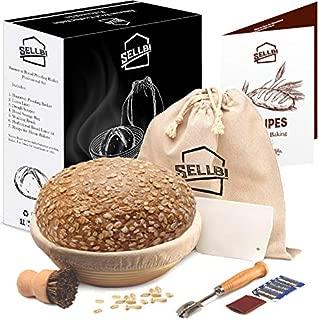 SellBi Round Brotform Banneton Basket - Homemade Starter Bread Making Proofing Set - 10-inch Large Bowl for Sourdough - Dough Cutter, Lame Scraper Linen Liner Cloth - Baking Rattan Tool Supplies