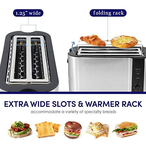 Elite Gourmet ECT-3100 Maxi-Matic 4-Slice Long Toaster 6 Toasting Levels