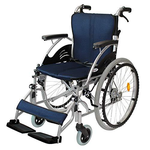 ケアテックジャパン 自走式 アルミ製 折りたたみ 車椅子 ハピネス ネイビー CA-10SU