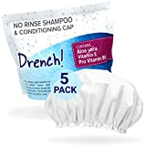 Drench No Rinse Shampoo Caps [5-Pack] - Waterless Shampoo and Conditioner - Dry Hair Wash Caps for The Elderly or Bedridden - Contains Aloe Vera, Vitamin E and Provitamin B5