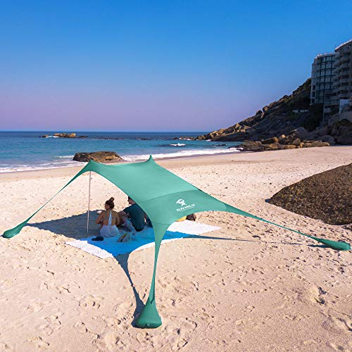 SUN NINJA Pop Up Beach Tent Sun Shelter UPF50+ with Sand Shovel, Ground Pegs and Stability Poles,...