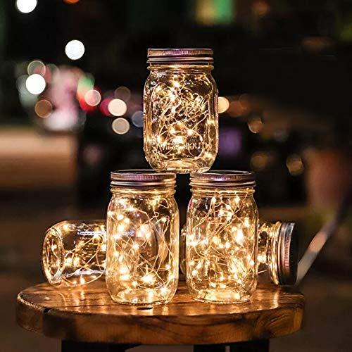 Lampe String Solarbetriebene LED Deckeleinsatz Licht Party Decor für Einmachglas