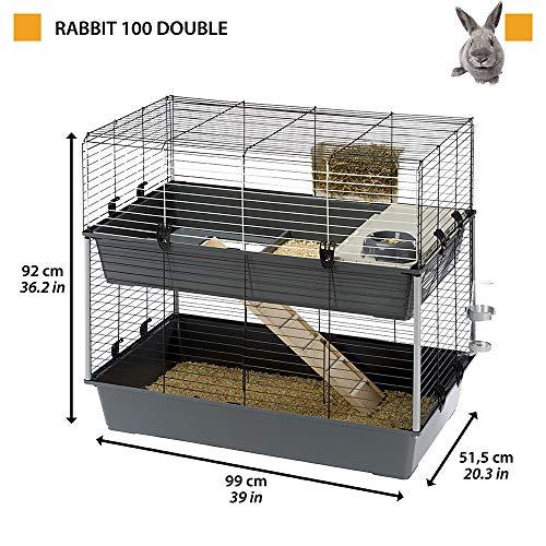 Feplast RABBIT 100 DOUBLE - Jaula de dos pisos para conejos , Casa para pequeños animales, Conejera con accesorios incluidos, de alambre pintado negro y plástico, 99 x 51,5 x h 92 cm, Mediano