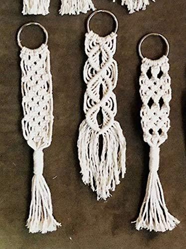 Crafting with Love - Juego de 3 llaveros de macramé hechos a mano con borlas