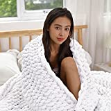 ERLYEEN Chunky Knit Blanket Chenille Cable Throw Warm Soft Large Handmade Blanket for Sofa Bed Home,White 40''x40''(Single Sofa)