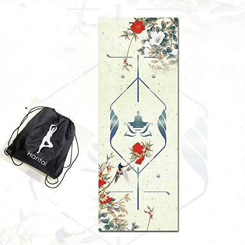 N / A Naturgummi-Wildleder-Yogamatte Beidseitig rutschfeste, tragbare, Faltbare Yoga-Handtuch-Fitness-Fitness-Matte Pilate Dance Pad 183x68x0,1CM