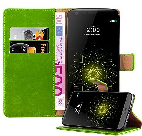 Cadorabo Custodia Libro per LG G5 in VERDE ERBE - con Vani di Carte, Funzione Stand e Chiusura Magnetica - Portafoglio Cover Case Wallet Book Etui Protezione