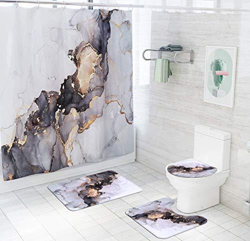 JZZCIDGa Goldener Treibsand Badematte Set 4-Teilige Badematte U-Förmige Matte Duschvorhang Toilettensitzbezug Badematte Anti Slip