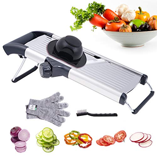 Mandoline Slicer Vegetables Cutter, Adjustable Kitchen Slicer Veggie Cutter for Onions Tomatoes Cucumbers Zucchinis Carrots and Salad, French Fry Cutter, Vegetable Chopper with Gloves Brush