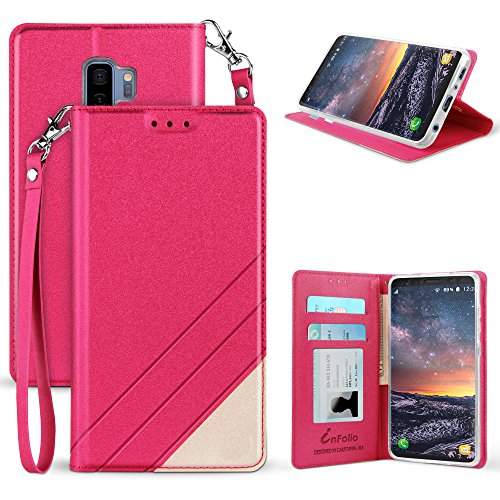 for Samsung Galaxy S9+, S9 Plus Premium Luxury PU Leather Two Tone Flip Folio Wallet Case with Wrist Strap [Magnetic Closure] (Hot Pink)