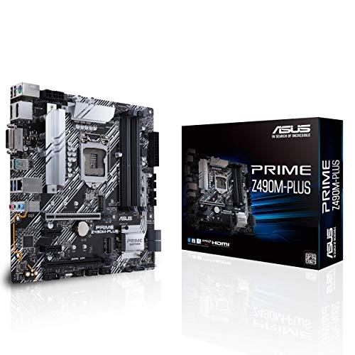 ASUS PRIME Z490M-PLUS, Scheda Madre micro ATX Intel Z490 (LGA 1200) con Doppio M.2, 9 Fasi di Potenza DrMos, HDMI, DisplayPort, DVI, SATA 6 Gbps, Intel 1 Gb Lan USB 3.2 Gen 2 Type-A e Type-C