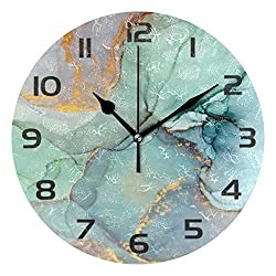 One Bear Modern Green and Gold Marble Texture Wall Clock, Silent Non Ticking Battery Operated Round Clock for Kitchen Office School Home Decorative