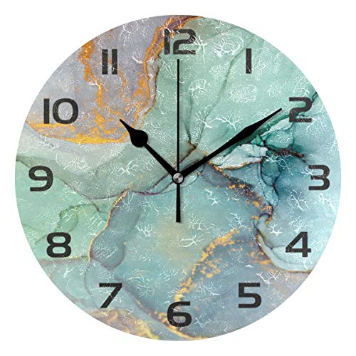 One Bear Modern Green and Gold Marble Texture Wall Clock, Silent Non Ticking Battery Operated Round...
