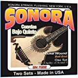 Made In USA, Sonora Strings SN75BE Bajo Quinto Nickel Wound Ball End, The Quality of Sound - (Two Sets)