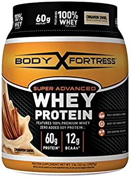 Body Fortress Super Advanced Whey Protein Powder Gluten Free Cinnamon Swirl 2 Pound