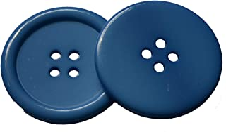 Lyracces Wholesale Lots 7pcs Extra Large Big Sewing Fasteners Flatback Resin Buttons 50mm 1.97 Inches (Blue)