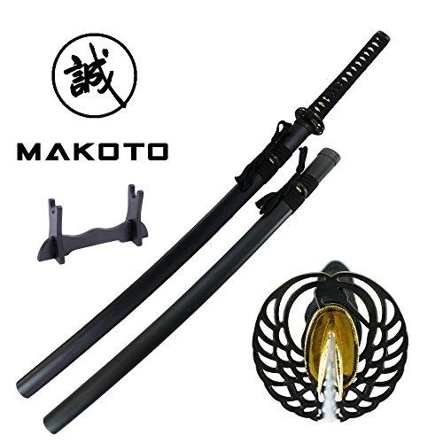 "MAKOTO Kaze Series Handmade Sharp Katana Samurai Sword 40"" - Black Dancing Crane Tsuba, Sword Stand Included"