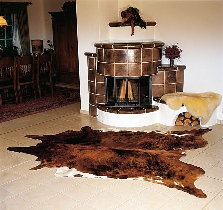 ecowhides Brindle White Belly Brazilian Cowhide Area Rug, Cowskin Leather Hide for Home Living Room (XL) 7 x 6 ft