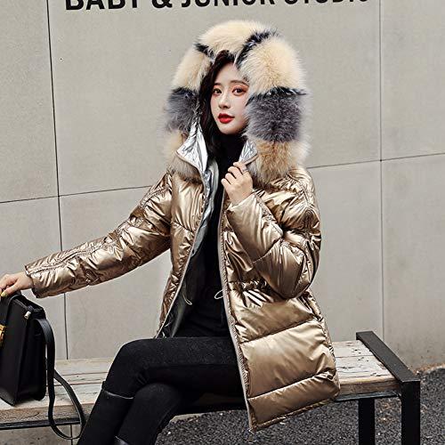 GDCAKMI Silberne Daunenjacke mit Pelzkragen für Damen, mittellange Silberne Daunenjacke, Warmer Mantel für Damen, hochwertige Kapuzenjacke