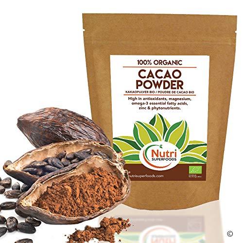 Poudre de cacao - Chocolat noir végétalien biologique Ingrédients - Sans sucre - Idéal pour la cuisson, les smoothies et le délicieux chocolat chaud - 200g