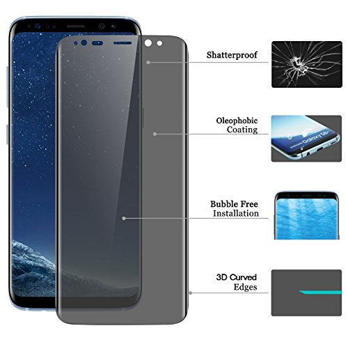 Josi Minea 3D Curved Privacy Tempered Glass Screen Protector with Full Edge to Edge Coverage & Anti Spy LCD Cover Guard Premium Ballistic HD Shield Compatible with Samsung Galaxy Note 9 - Clear