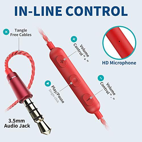 AzukiLife kopfhörer, Komfortable Kopfhörer mit Stereo Sound Earphones , Gaming-Kopfhörer mit Mikrofon-Lautstärkeregelung, Tangle-Free Sport Ohrhörer, für iPhone, Android, Laptop(Rot)
