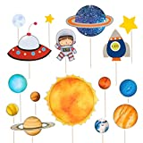 NUOBESTY Space Astronaut Cake Topper Rocket Cake Decor Sistema Solar Cupcake Toppers para niños Fiesta de cumpleaños, 16 pcs