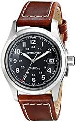 best durable tactical military watch with leather - Hamilton Men's HML-H70455533 Khaki Field Black Dial Watch