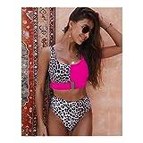 GlISR Remiendo del Leopardo del Bikini de Talle Alto de Las Mujeres del Traje de baño Mujer brasileña Biquini Bikini de Traje de baño de Las Mujeres (Color : AF161305, Size : S)