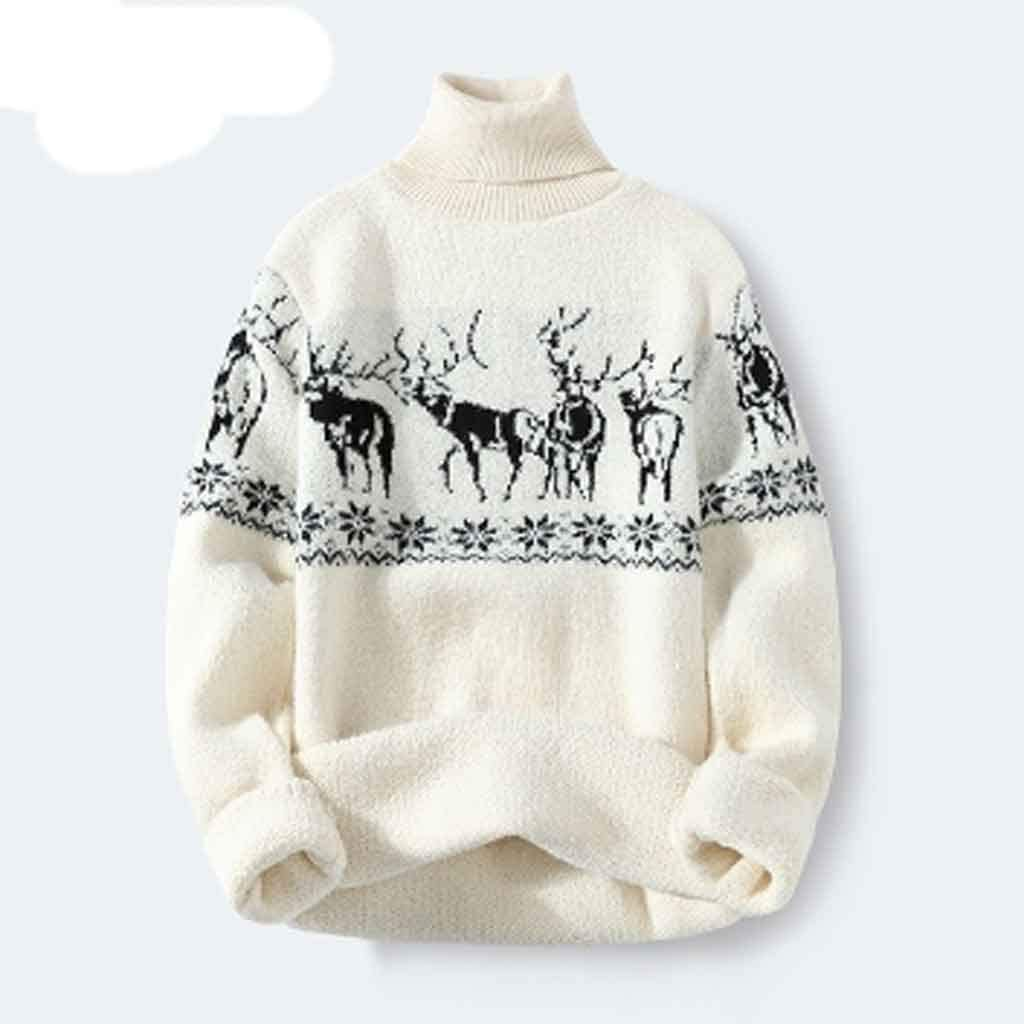 ZYING Autumn Casual Turtleneck Men Sweater with Deer Pullover Men Clothing Korean Men Turtle Neck Winter Clothes (Color : Style 4)