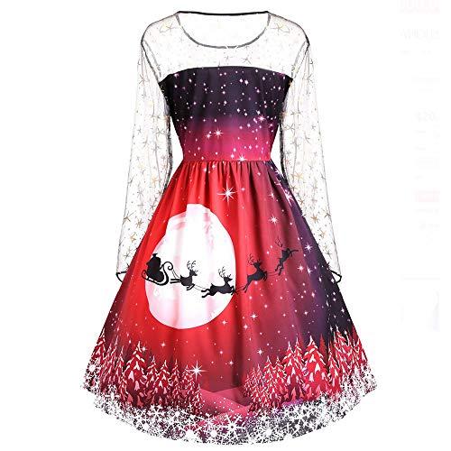 VEMOW 2018 Elegante Damen Frauen Frohe Weihnachten Vintage Weihnachtsmann Print Spitze Abendgesellschaft Kleid Cocktailkleider(X2-Rot, 40 DE / 2XL CN)