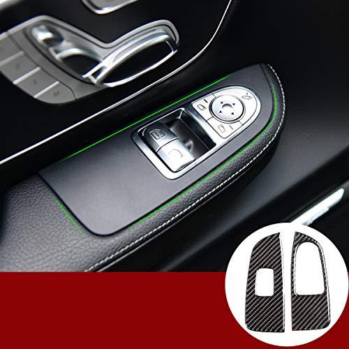 Weiche Kohlefaser Auto Tür Fenster Lift Schalter Knopf Trim 2 Stück Zubehör für Benz V-Klasse W447 V260...