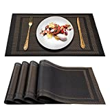Artand Placemats, Woven Crossweave Placemat for Dining Table, PVC Vinyl Table Mats, Set of 4 (Black Gold-Frames)